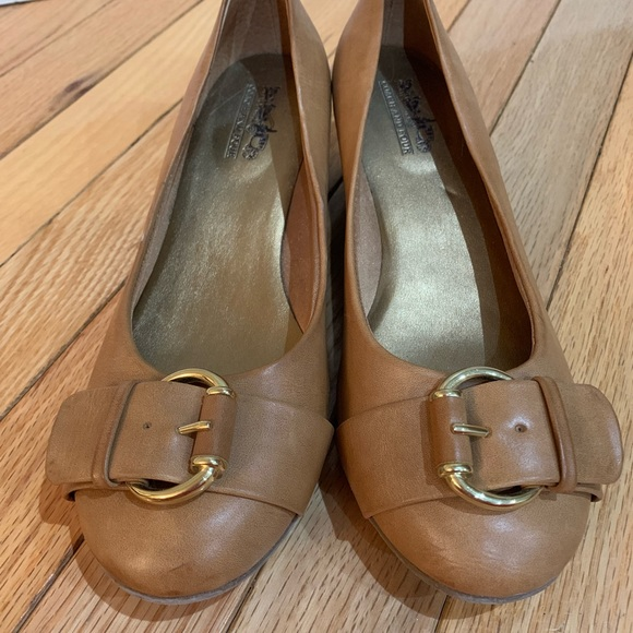 Coach Camel Wedge Shoes